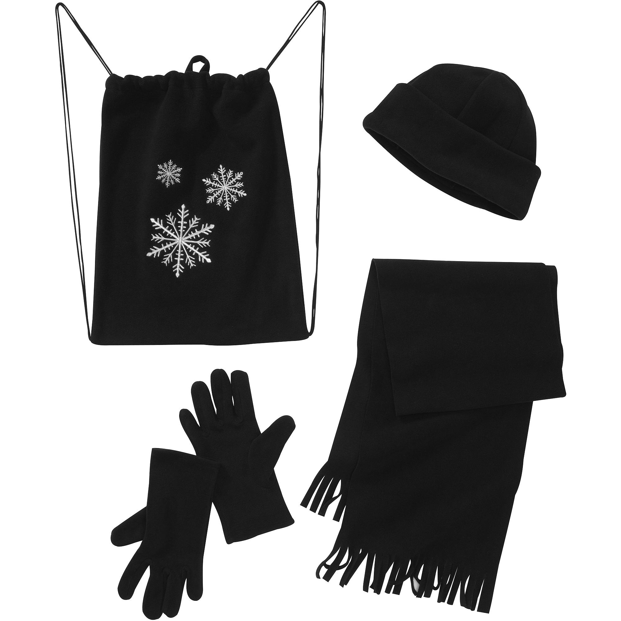 Women's 4-Piece Bag, Hat, Scarf and Gloves Fleece Gift Set