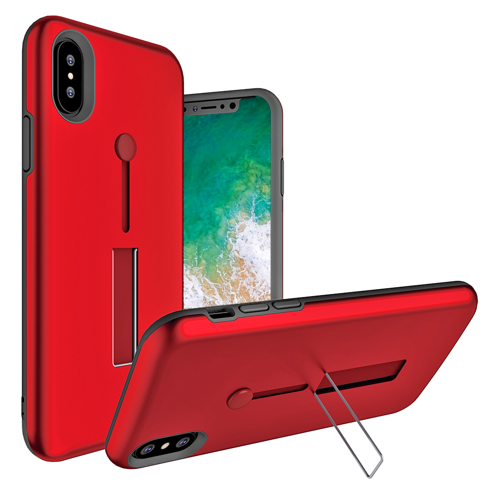 Apple IPHONE X Material Protective Shockproof With Loop Kickstand Flexible Ring Case Cover Rose Gold