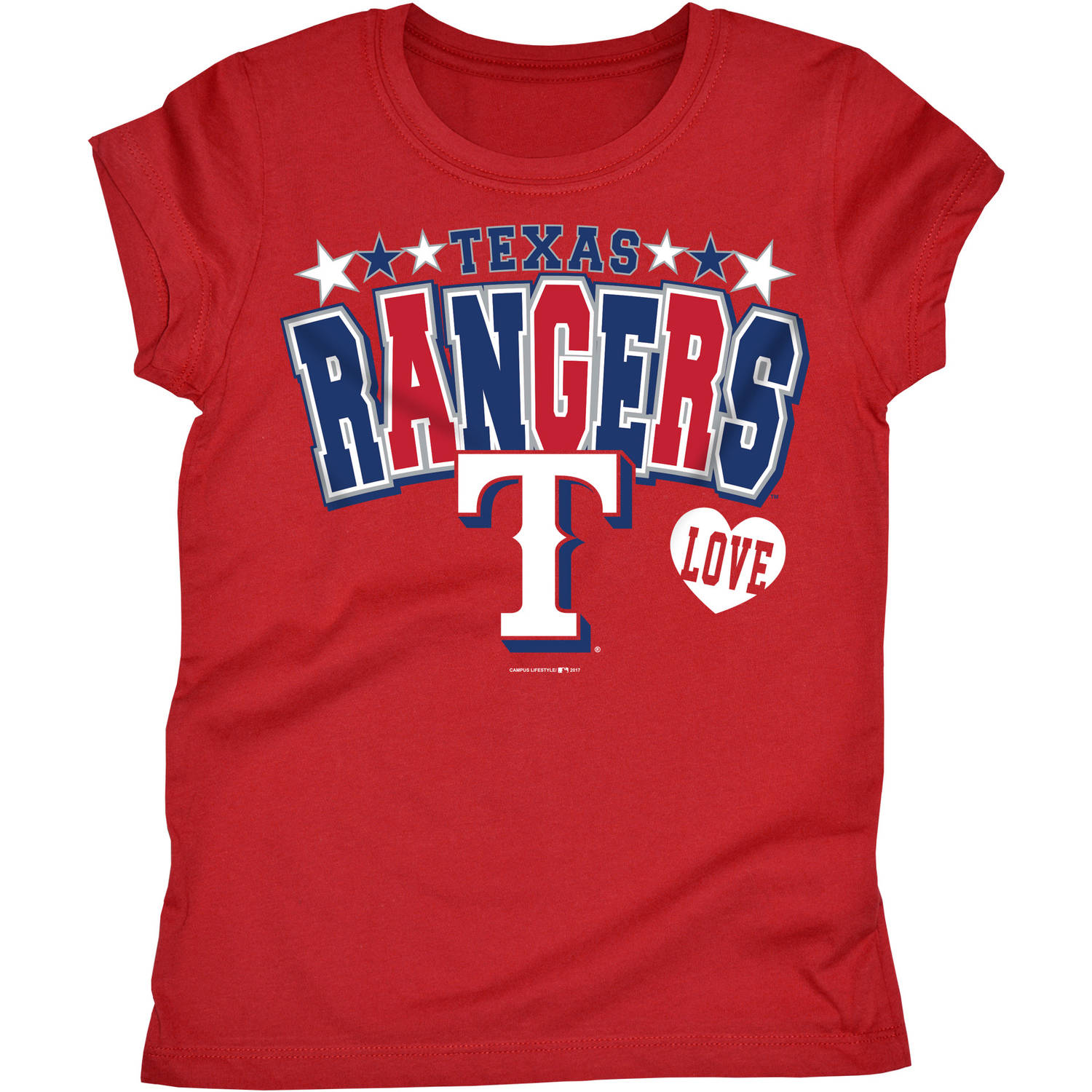 MLB Texas Rangers Girls Short Sleeve Team Color Graphic Tee