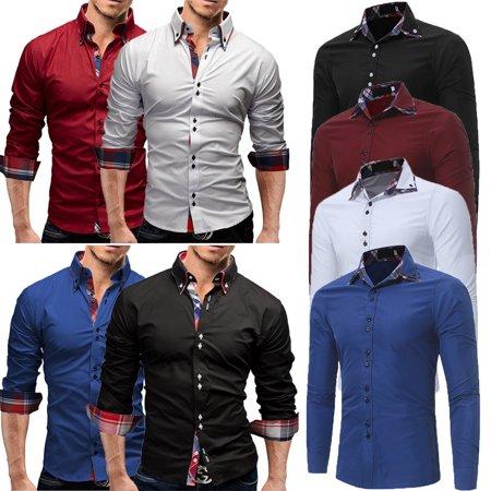 60bf29515f0e8 Urkutoba - Stylish Men Long Sleeve Luxury T-Shirt Formal Blouse Casual Slim  Fit Dress Shirt - Walmart.com