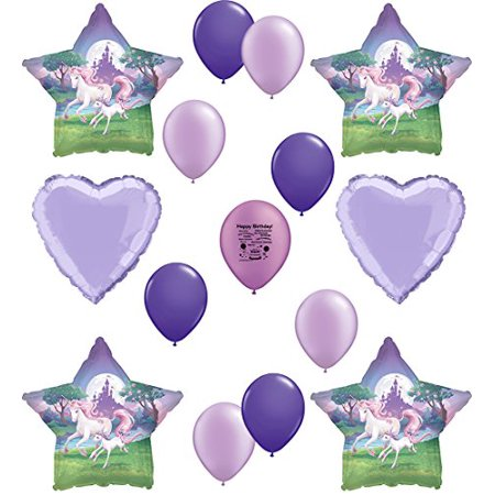 Unicorn Party Supplies Happy Birthday Balloon Set Purple Lover Version
