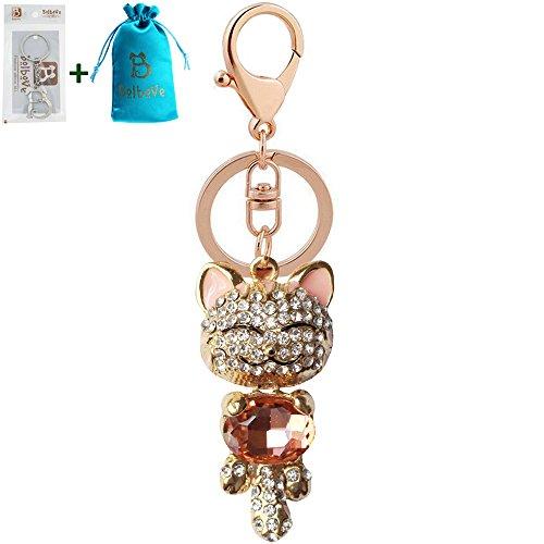Cute Pussy Cat diamante Keyring  Rhinestone handbag Charm Bling *NEW*