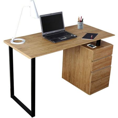 Techni Mobili Computer Desk with Storage and File Cabinet, Pine (RTA-1305-PN)