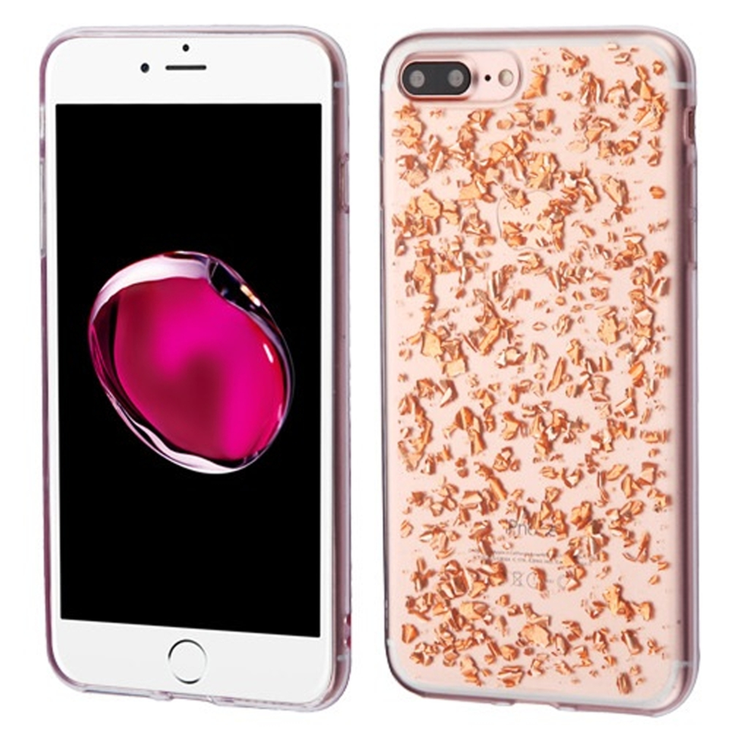 iPhone 8 Plus case, iPhone 7 Plus case, by Insten Flakes Rubber TPU Case Cover For Apple iPhone 8 Plus / iPhone 7 Plus, Rose Gold/Clear