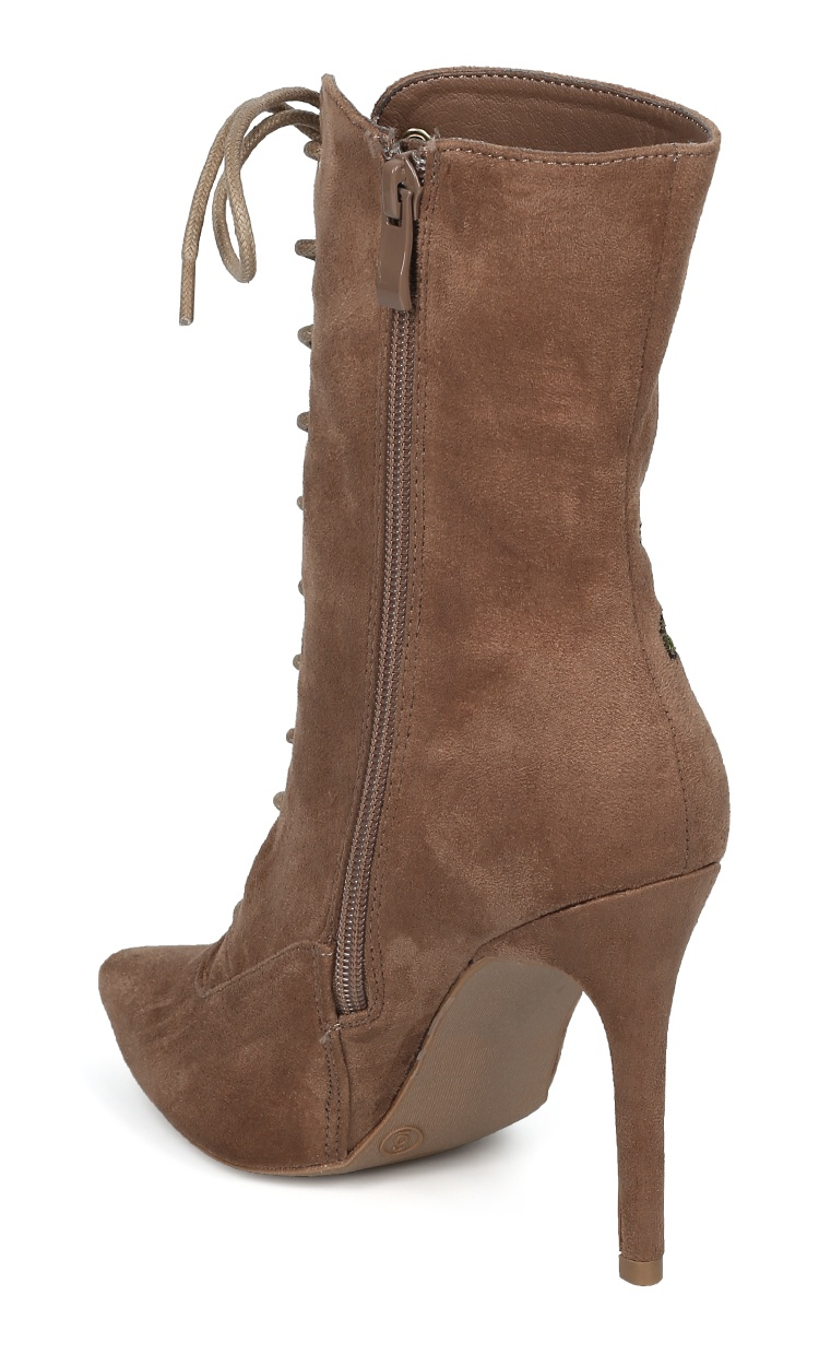 Women Faux Suede Pointy Toe Lace Up Embroidered Stiletto Boot HF13