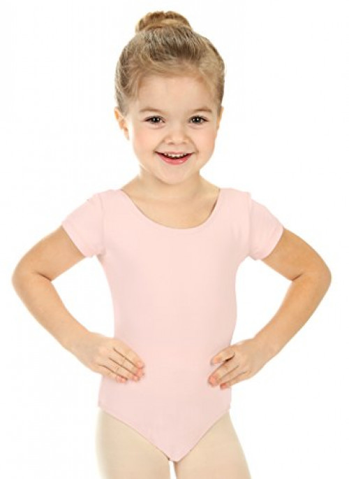 Elowel Girls' Team Basics Short Sleeve Leotard Nude (size 4-6 )