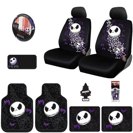 New 12 Pieces Nightmare Before Christmas Jack Skellington Car Truck SUV Seat Covers Floor Mat Set with Little Tree Air Freshener
