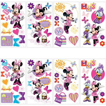 RoomMates Mickey and Friends Minnie Bow-Tique Peel-and-Stick Wall Decals, 2