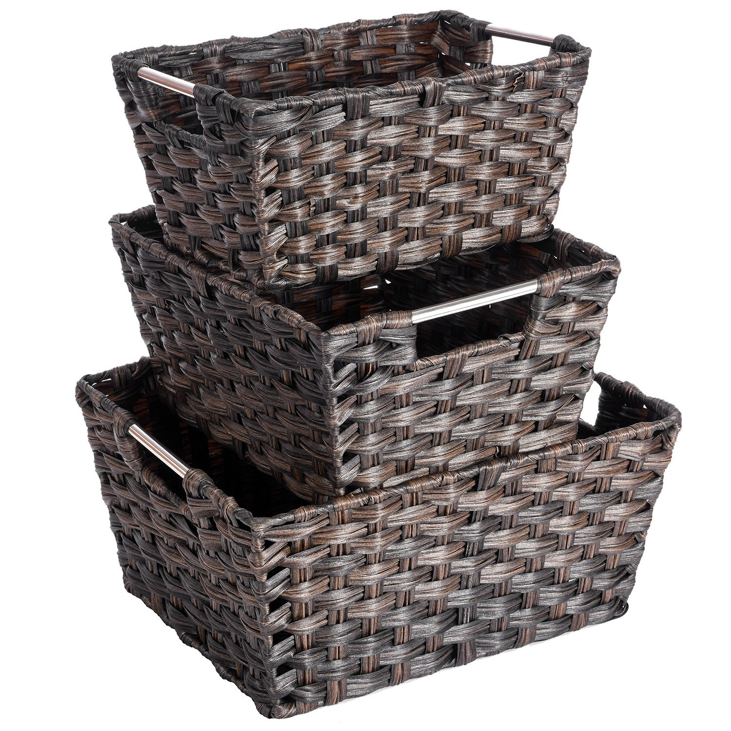 Rattan Basket, Set of 3 Rectangular Wicker Woven Nesting Baskets Storage Bins Containers Organizers Boxes with Handles for Shelves Pantry Bedroom Magazine Organization