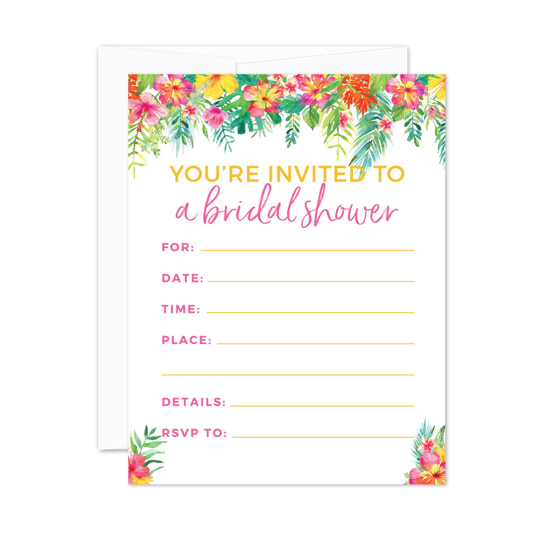 Tropical Floral Garden Party Wedding, Blank Bridal Shower Invitations with Envelopes, 20-Pack