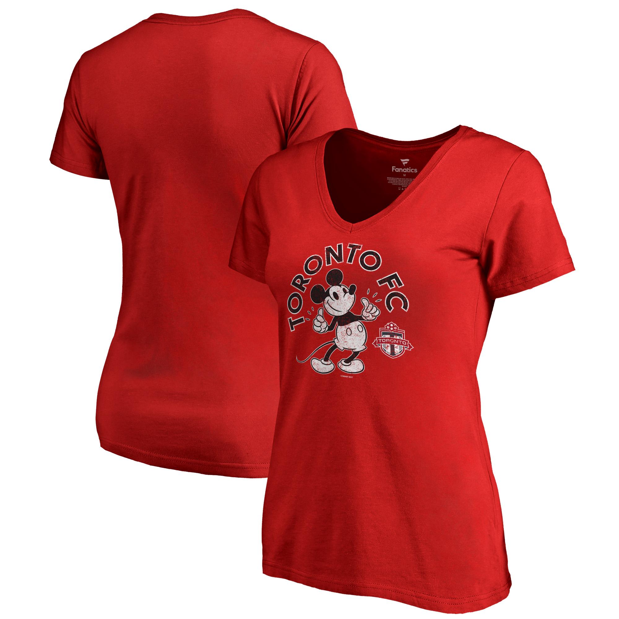 Toronto FC Fanatics Branded Women's Disney Mickey True Original Arch V-Neck T-Shirt - Red
