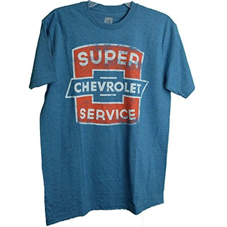 Gm Chevrolet  Super Service  Distressed Logo Adult Mens Tee Shirt Blue Medium