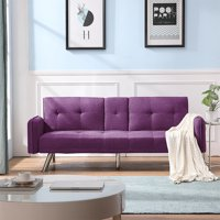 "Sofa Bed, 74"" W Mid Century Sofa Couch with Armrest, Recliner Couch Futon Sofa Bed with Metal Legs, Two Cup Holders, Multiangle Backrest, Fabric Couches and Sofas for Living Room , Purple, Q14040"