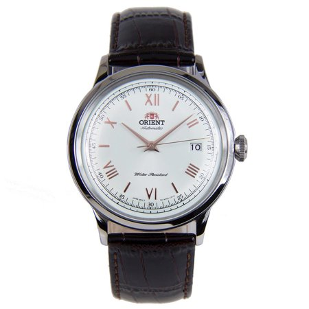 AC00008W Men's Bambino II White Dial Brown Leather Strap Automatic Watch Automatic Brown Strap Watch
