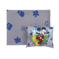 Disney Mickey Mouse - Grey, Blue and Red Super Soft Toddler Blanket and Pillow Set