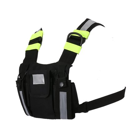 Radio Harness Chest Rig Bag Front & back Reflective Double Pocket Holster Vest - image 4 de 9