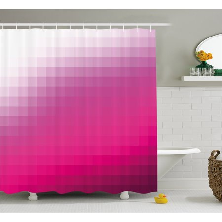 Hot Pink Shower Curtain Modern Art Mosaic Tiles Gradually Ombre Inspired Squares Image Fabric