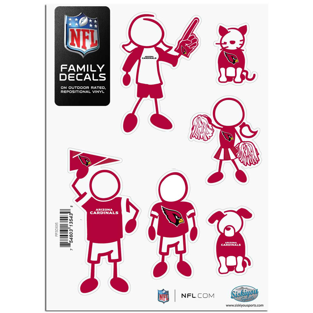 Arizona Cardinals Official NFL Small Family Decal Set by Siskiyou 135439