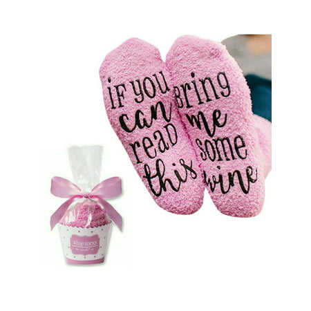 Women's Casual Novelty Cozy Funny Cake Package Christmas Gift Fuzzy Socks ()