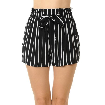 Love Life Short (Love Moda Women's Paper Bag Waist Tie-Front Belted Pull-On Woven Shorts (Black, Small #70446-2))