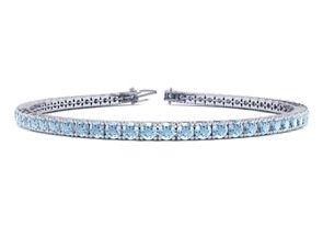 9 Inch 3 1 2 Carat Aquamarine Tennis Bracelet In 14K White Gold by