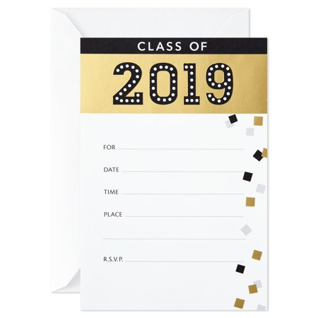 Hallmark Graduation Party Invitations, 20 Invites with Envelopes (Black and Gold, Class of 2019) - Class Halloween Party Invitation