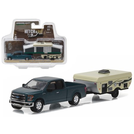2015 Ford F-150 Pickup Truck and Pop-up Camper Trailer Hitch & Tow Series 8  1/64 Diecast Model Car by Greenlight