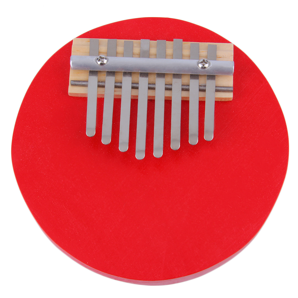 New Red Round 8 Keys Kalimba Mbira Thumb Piano Likembe Sanza Red Musical Instruments~~