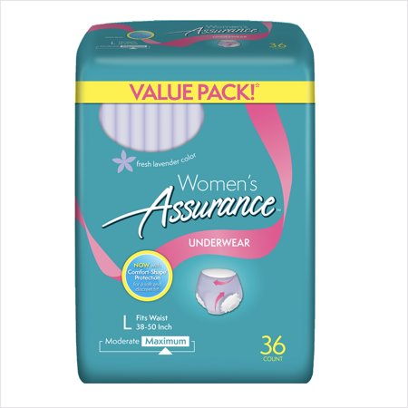 Womens Maximum Assurance Fresh Lavender Color Underwear L  36 Count