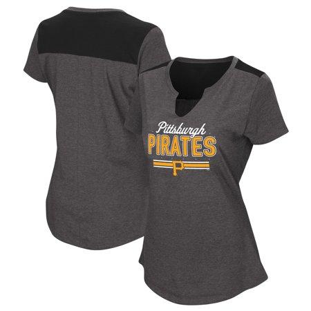 Women's Majestic Black Pittsburgh Pirates Plus Size Switch Hitter T-Shirt