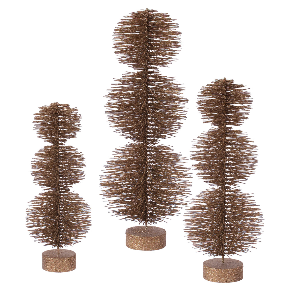 Set of 3 Mocha Glittery Artificial Triple Ball Topiary Christmas Trees ��� Unlit