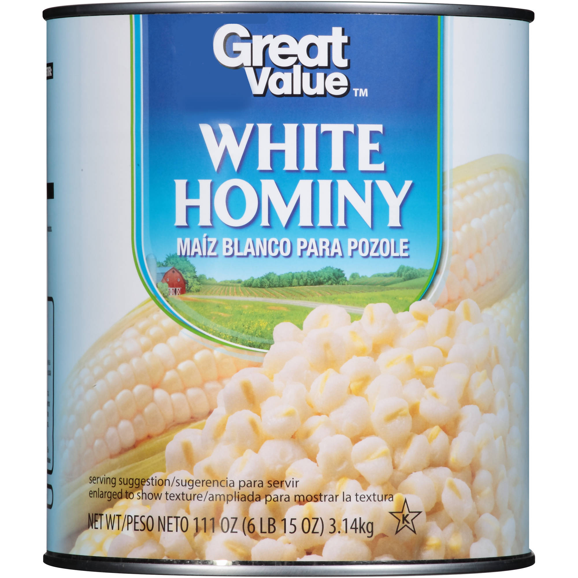Great Value White Hominy, 111 Oz