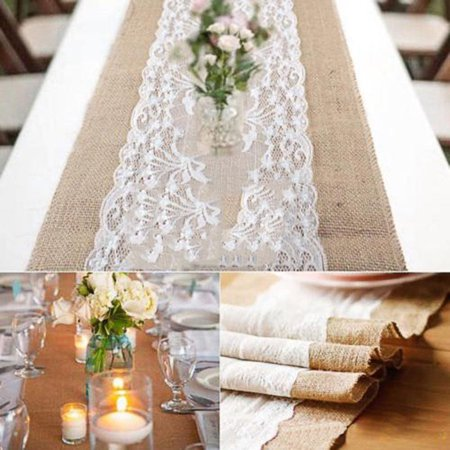 Hessian Burlap Table Runner Table Flag Wedding Wide Flower Lace Natural Rustic Retro Table Decoration - image 2 de 6