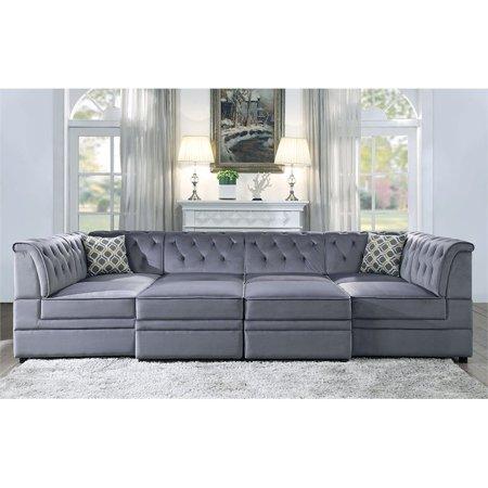 ACME Bois II Armless Chair Section - Modular Sofa in Gray Velvet