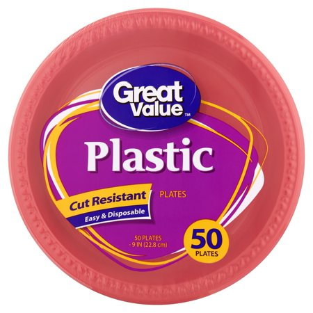 Costco Plastic Plates (Great Value Red Plastic Lunch Plates, 9