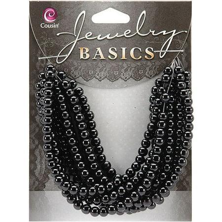 Jewelry Basics Glass Beads, 4mm, 300pk, Black Opaque Round