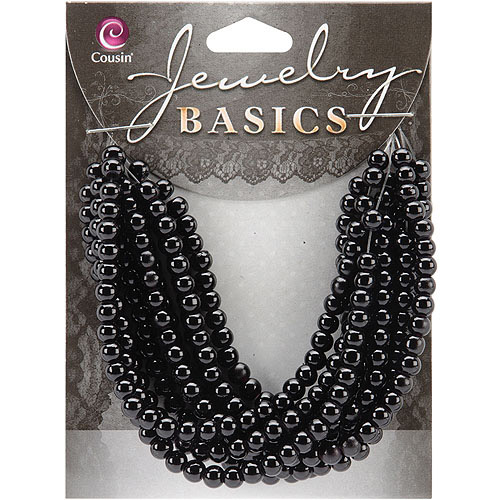 Jewelry Basics Glass Beads, 4mm, 300pk, Black Opaque Round