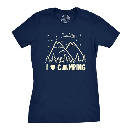 Summer Graphic Tee (Womens I Love Camping Cool Summer Outdoor Hiking Graphic Tee for)