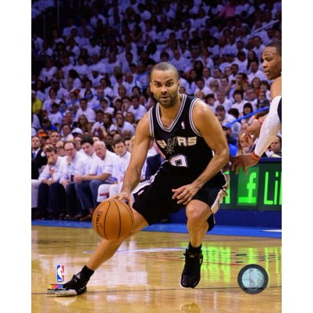 Tony Parker Of The San Antonio Spurs Drives In Game 6 Of The Western Conference Finals During The 2014 Nba Playoffs At The Chesapeake Energy Arena On May 31 2014 Photo Print