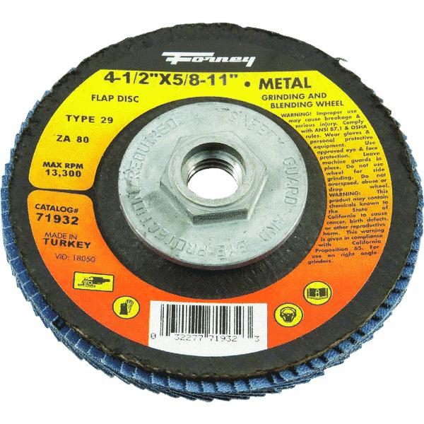 Forney Type 29 Blue Zirconia Angle Grinder Flap Disc