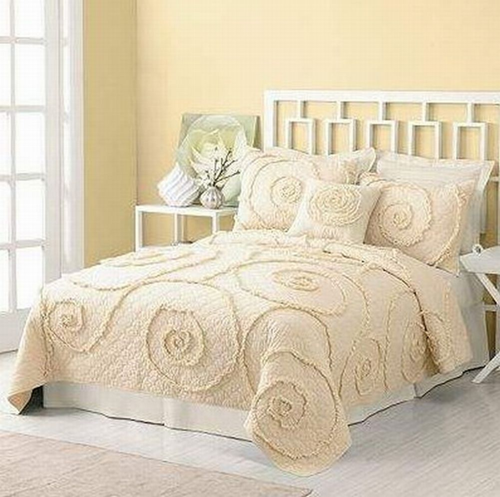 Sonoma Twin Quilt & Sham Set Creamy Ivory with Ruffles Bed Cover Bedspread