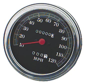 Bikers Choice 5in. FL Type Speedometer   2240:60 Ratio Front Wheel Drive - 120 mph Black Fa 72423