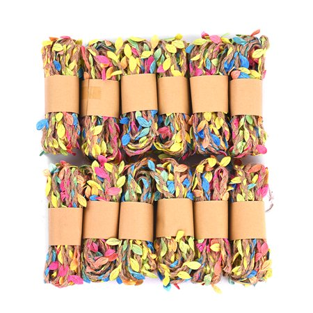 12Pcs Colorful Leaves Jute Twine String Natural Ball Burlap Hessian Roll Length Packing String for Gifts Festive Gardening Wedding Decoration DIY Craft ()