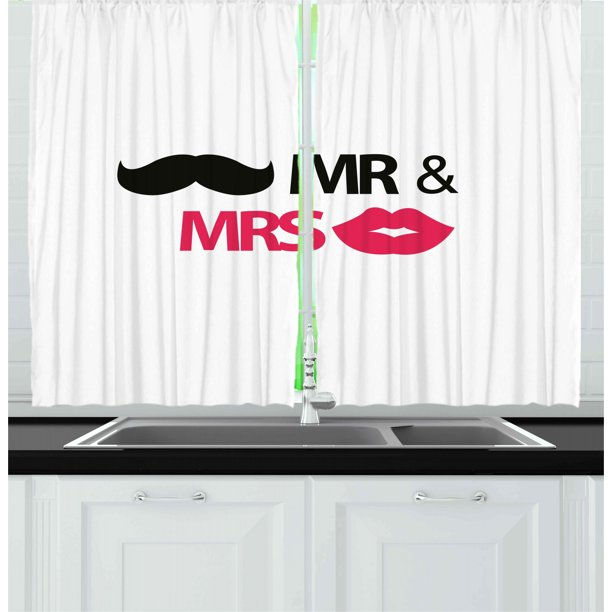 Wedding Curtains 2 Panels Set Funny Stencil Art Lips Moustache Mr And Mrs Retro Stylized Design