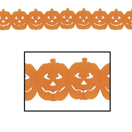 Club Pack of 12 Halloween Jack-O-Lantern Party Garland 12' - Halloween Party Clubs