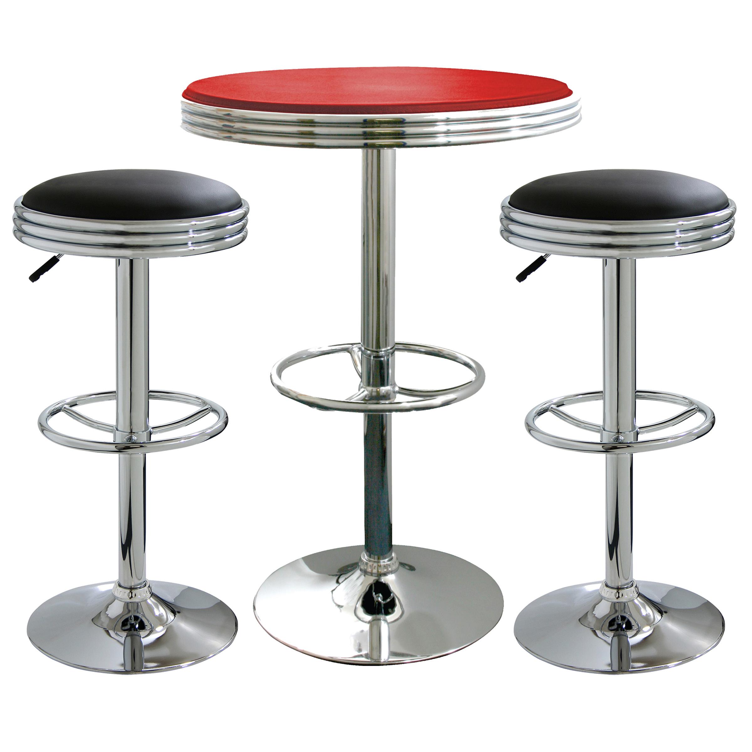 Retro Mixed 3 Piece Soda Shop Bistro Set Furniture Pub Diner Game Room
