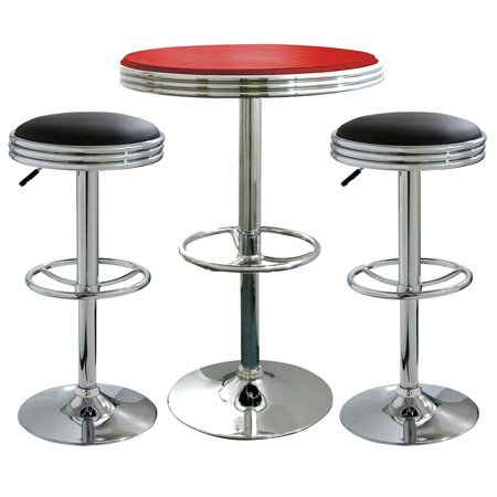 retro mixed 3 piece soda shop bistro set furniture pub diner