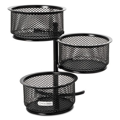 - 3 Tier Wire Mesh Swivel Tower Paper Clip Holder, 3 3/4 x 6 1/2 x 6 - Black, Wire mesh tower with three dishes that swivel. By Rolodex,USA