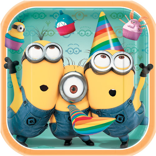 "9"" Despicable Me Square Plates, 8ct"