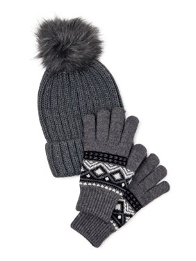 Time and Tru Rib Beanie with Pom and Touch Glove Set